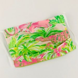 Lilly Pulitzer Animals pattern 3 pleat face mask
